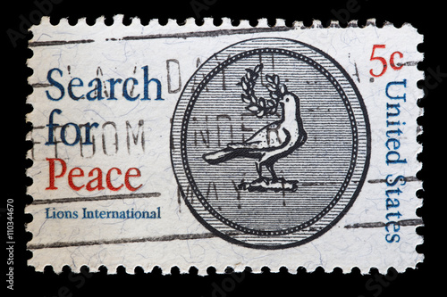 Poster United States used postage stamp showing the dove of Peace