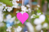 Love. Wooden heart in cherry blossom. Wooden clothespin in the form of heart
