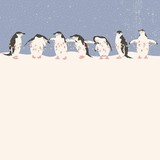 Christmas card with penguins holding string of lights. Season