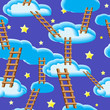 Detaily fotografie Night sky, clouds, ladders and stars.