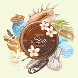 Spa treatment round banner with lotus,shells, frangipani and stones.Design for cosmetics, store,spa and beauty salon, organic health care products. Can be used as logo design. Vector illustration.