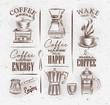 Coffee symbols brown