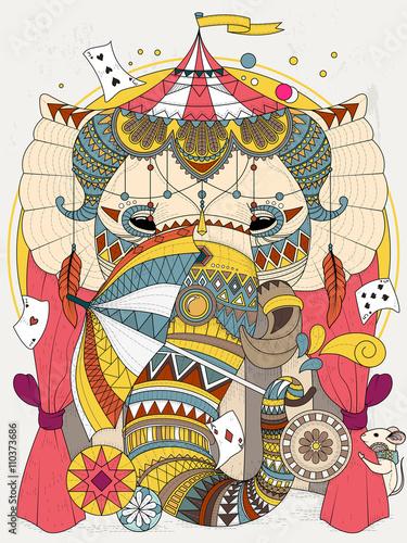 Fototapeta elephant adult coloring page