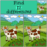 Children games: Find differences. Cute cow stands and smiles in