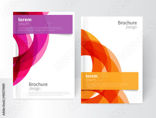 Vector Abstract Business Brochure, Annual Report, Flyer, Leaflet Cover Template. Geometric abstract background yellow and purple circles intersecting. concept catalouge design. EPS 10