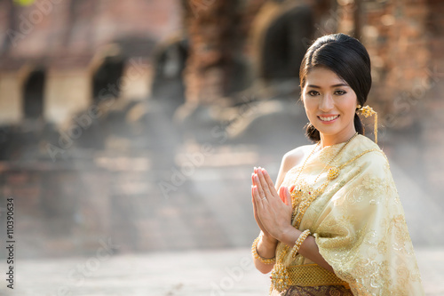 Thai Lady in vintage original Thai costume