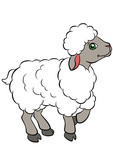 Cartoon farm animals for kids. Little cute sheep.