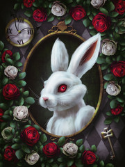 White rabbit from Alice in Wonderland. Portrait in oval frame, clock, key, red roses and white roses on  chess background. The character from Alice in Wonderland. Illustration