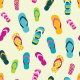 Fototapety Flip flop color summer pattern. Seamless repeat pattern, background. Cartoon flat illustration.