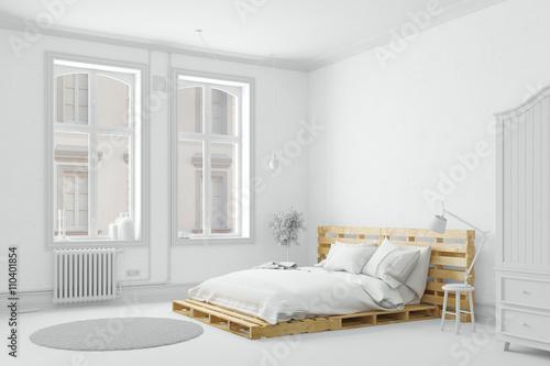 Plagát Palettenbett aus Holz im Schlafzimmer