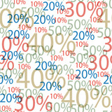 Vector illustration of seamless background of discounts