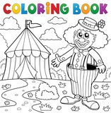 Coloring book clown near circus theme 5