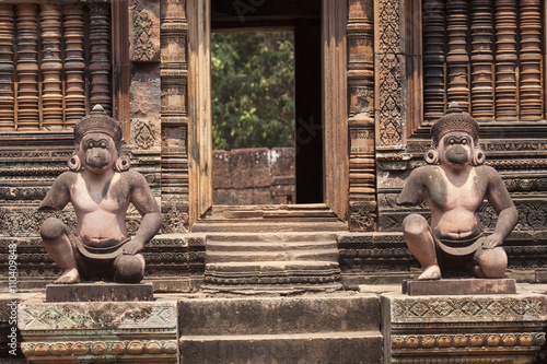 Monkey guardians in the Banteay Srey hindu khmer temple ,  Angkor Wat, Cambodia Poster