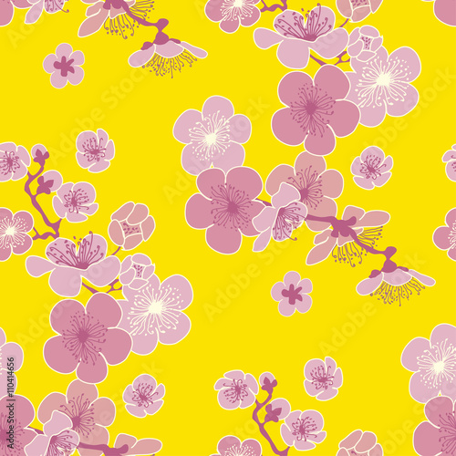 Cotton fabric yellow background cherry blossom vector pattern for fabric