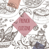French cuisine template. Includes onion soup, chicken, cheese, sausages, escargots - 110421671