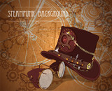 Steampunk background with steampunk top hat and brass goggles