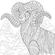Zentangle stylized cartoon goat (ram, ibex, aries, capricorn zodiac). Hand drawn sketch for adult antistress coloring page, T-shirt emblem, logo, tattoo with doodle, zentangle, floral design elements. - 110428006
