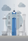 Japan Famous Tower Series Vector - Fukuoka Tower