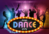 Party People Background with Neon Sign Mega Dance Party - Illustration, Vector