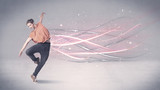 Funky urban dancer with glowing lines