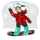 little cute male snowboarder at ski resort