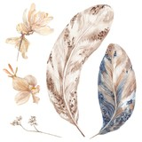 Boho Style Watercolor Feathers and Plants