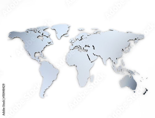 Canvas Wereldkaarten World map metal texture with shadow on white background