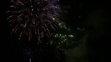 Beautiful fireworks display against a black night sky, captured in 4K in Los Angeles, celebrating Independence Day on July 4th, 2015.