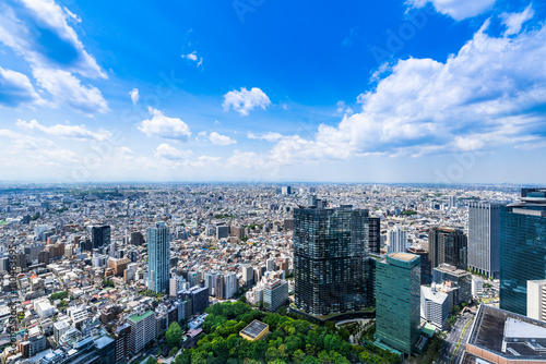 Fotobehang Tokio 東京 青空と都市風景