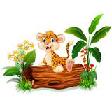 Cartoon baby cheetah on tree trunk - 110465406