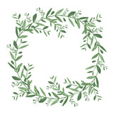 Watercolor olive wreath. Isolated vector illustration on white background - 110468894