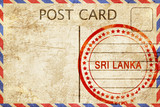 Sri lanka, vintage postcard with a rough rubber stamp