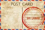 Sri lanka, vintage postcard with a rough rubber stamp