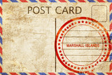 Marshall islands, vintage postcard with a rough rubber stamp