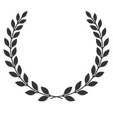 Fototapety A laurel wreath icon - symbol of victory and achievement. Vintage design element for medals, awards, coat of arms or anniversary logo. Gray silhouette isolated on white background. Vector illustration