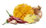 Mango chutney ginger garlic onion 2 isolated on white background as package design element
