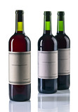 bottles of red wine isolated on white
