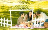 Composite image of family picnicking together