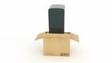 Refrigerator in cardboard box. 3D rendering