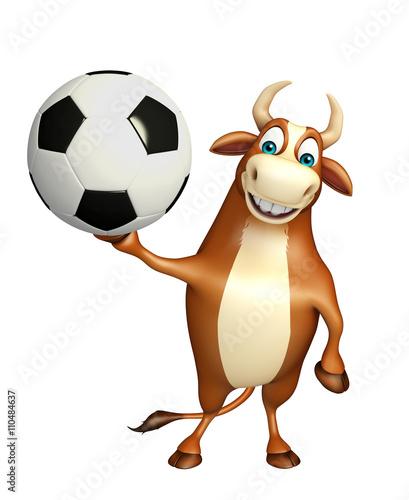 fun Bull cartoon character with football