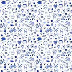 Seamless pattern with doodle children drawing. Hand drawn funny background © teploleta