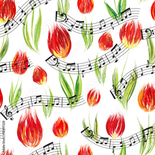 Fototapeta Bright seamless pattern with oil painted red tulip flowers end notes, design elements.