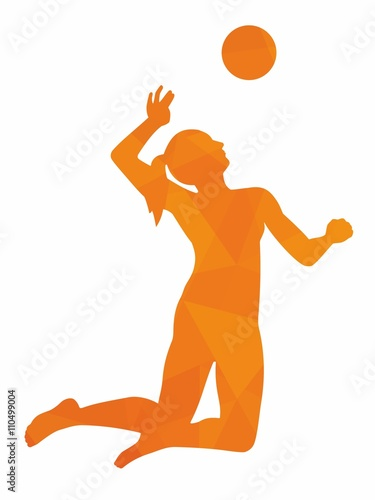 Fototapeta Silhouette of woman playing volleyball