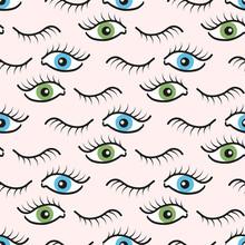 Streszczenie szwu z otwartymi i zamkniętymi oczami. Rzęsy tła ilustracji.