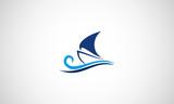 Vector shape sailing boat for logo, symbol shipping company or sport