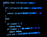 Programming code - blue color, written in C# language syntax