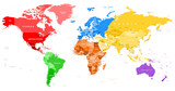 Fototapety Colored World Map - borders, countries and cities - illustration  Highly detailed colored vector illustration of world map.