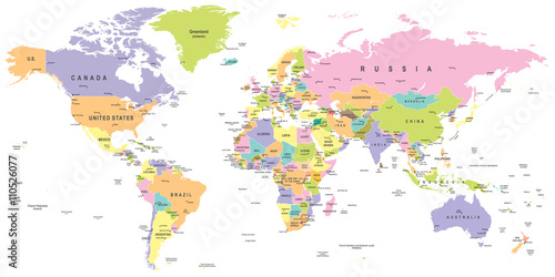 Colored world map borders countries and cities illustration colored world map borders countries and cities illustration highly detailed colored vector illustration of world map poster gumiabroncs Image collections