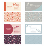 Set of business cards template with nature themes .With birds,br