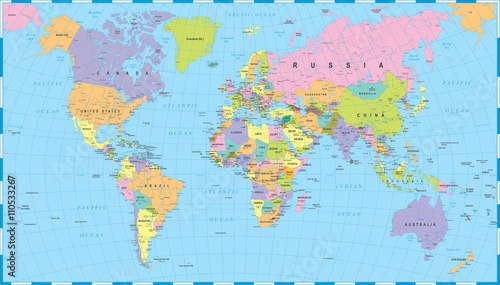 Papiers peints Bestsellers Colored World Map - borders, countries and cities - illustrationHighly detailed colored vector illustration of world map.
